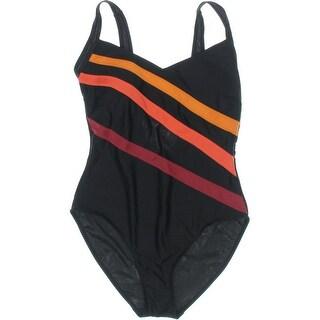 La Isla Womens Striped Molded Cups One-Piece Swimsuit - 8/10