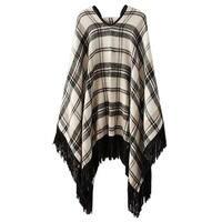 QZUnique Women's Plaid Pullover Sweater Tassel Poncho Cape Wrap Shawl