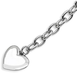 Chisel Stainless Steel Polished Open Link with Heart 8.5 Inch Bracelet