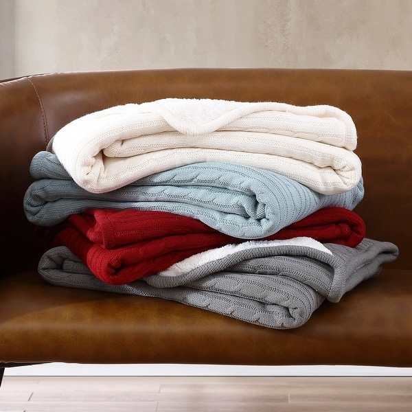 Brielle Home? Cozy Cable Knit Reversible Sherpa Throw. Opens flyout.