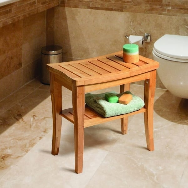 Deluxe Bamboo Shower Seat Bench With Storage Shelf On Sale Overstock 12729703