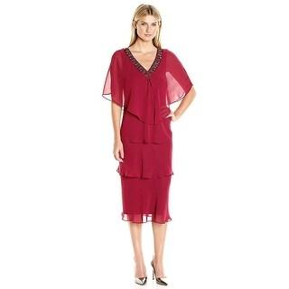SLNY SL Fashions Plus Size Beaded Tiered Sheath Dress - 18W