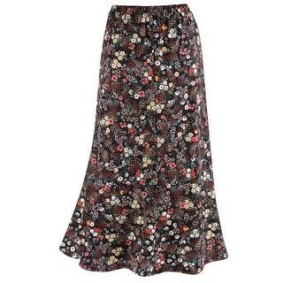 "Catalog Classics Women's Confetti Flowers Traveler Skirt - Floral Print 32"" Long"