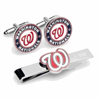 Washington Nationals Cufflinks and Tie Bar Gift Set MLB - Multicolored