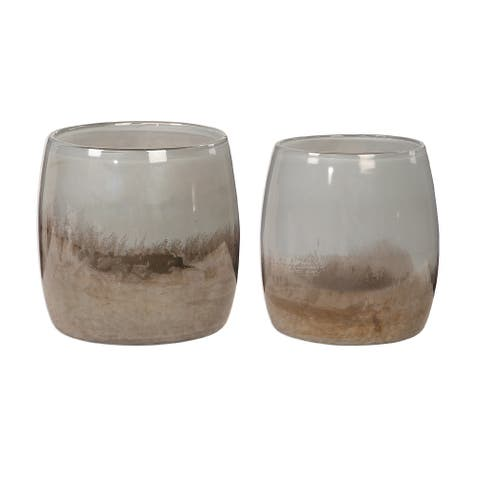 """Set of Two Large and Small Gray Ombre Blown Glass Bowls 8.75"""""""