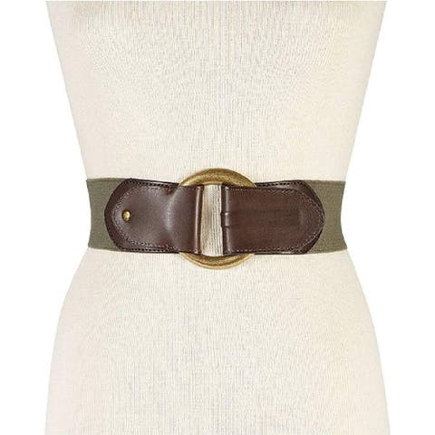 INC International Concepts Women's Hook Front Stretch Belt in Olive Size Small/Medium - Green - Small