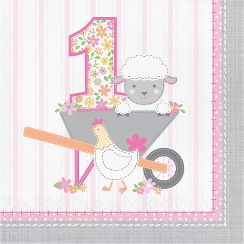 """Club Pack of 192 Pink and Gray Farmhouse Birthday 2-Ply Napkins 6.5"""" - N/A"""