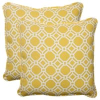 Set of 2 Sunny Yellow and White Outdoor Patio Wicker Throw Pillows 18.5""