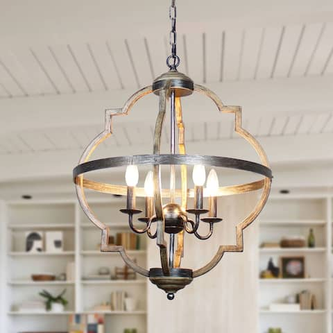 Antique Distressed Metal 4-light Candle Style Chandelier
