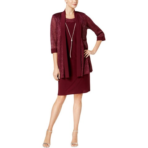 R&M Richards Womens Dress With Jacket Special Occasion Metallic