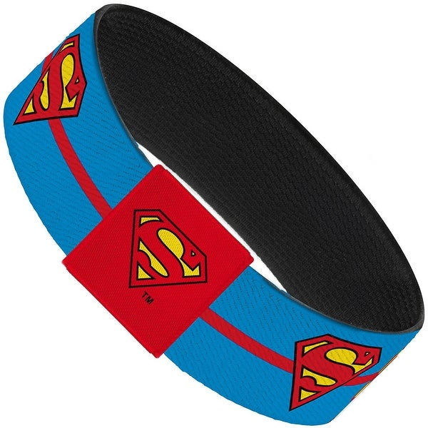 Superman Text Stripe Blue Red Yellow Elastic Bracelet