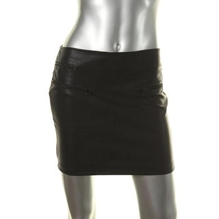 Lily White Womens Faux Leather Solid Mini Skirt