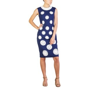 Prada Women's Viscose Shimmering Beaded Floral Pattern Dress Navy - 6