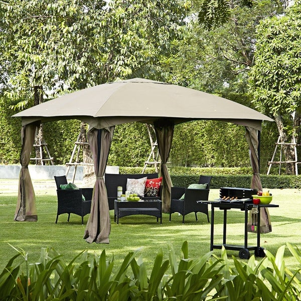 Gymax 11.5FT Patio Gazebo Canopy Tent Wedding Party Shelter Awning Mosquito  Netting   As Pic