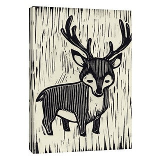 "PTM Images 9-109072  PTM Canvas Collection 10"" x 8"" - ""Deer Linocut"" Giclee Deer Art Print on Canvas"