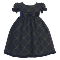 Green Plaid Short Sleeve Bow Christmas Dress Girls 3M-4T