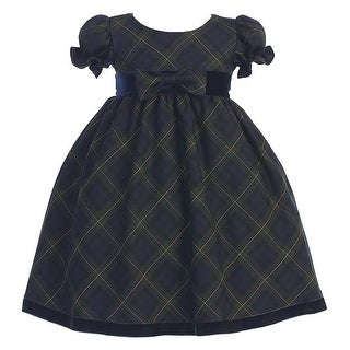Green Plaid Short Sleeve Bow Christmas Dress Girls 3M-4T