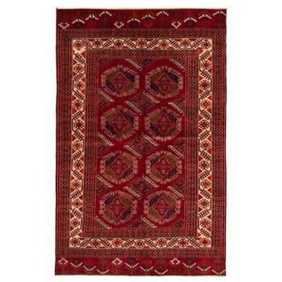 ECARPETGALLERY Hand-knotted Shiravan Bokhara Burgundy Wool Rug - 5'2 x 7'10