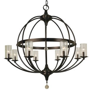 "Framburg 1078 Compass 8 Light 40"" Wide Pillar Candle Chandelier"