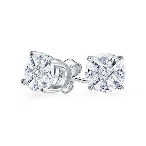 2b8a31284c224 Cubic Zirconia CZ Stud Earrings 3 Carat ctw in Sterling Silver