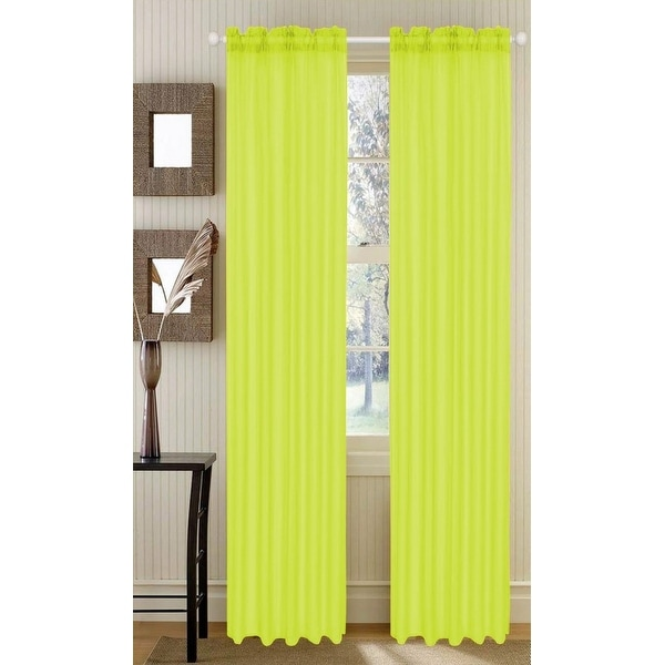 Barcelona Voile Sheer Panel, Neon Bright Yellow, 53x90 - 53 x 90