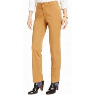Tommy Hilfiger NEW Beige Women's 12 Flat Front Khakis Chinos Pants