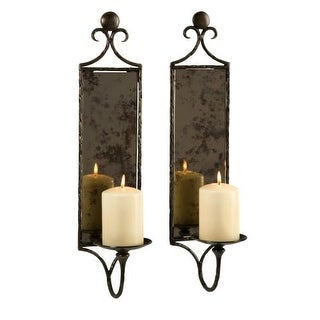 IMAX Home 6948-2 Hammered Mirror Wall Sconce - Set of 2