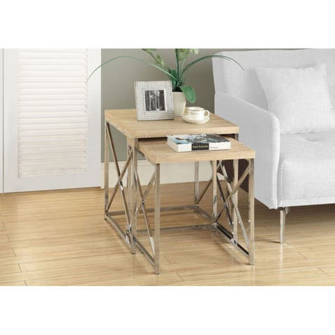 Offex Natural Reclaimed-Look / Chrome Metal 2 Piece Nesting Tables