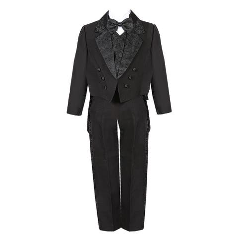 Boys Black 5 Piece Vest Pants Tail Jacket Jacquard Tuxedo Suit