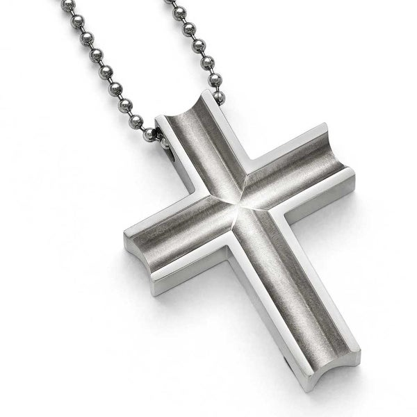 Chisel Titanium Polished Cross Necklace - 24 in