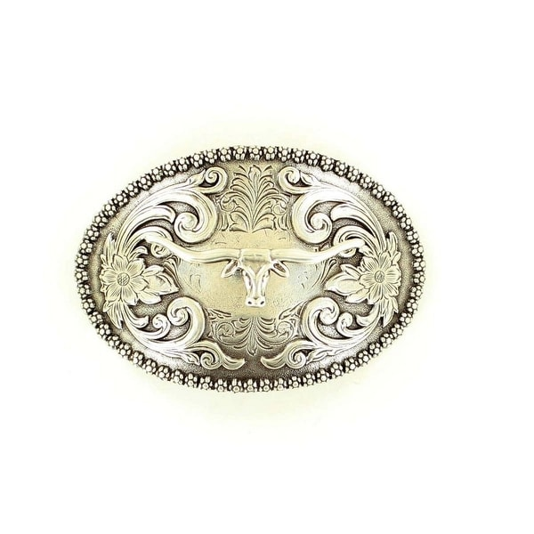 Nocona Western Belt Buckle Longhorn Oval Floral Antique Silver - 2 3/4 x 4