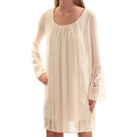 Womens Beige Bell Sleeve Above The Knee Shift Casual Dress Size: 2XS