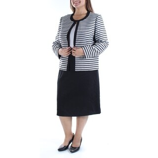 Womens Black White Knee Length Pencil Wear To Work Skirt Suit Size 14
