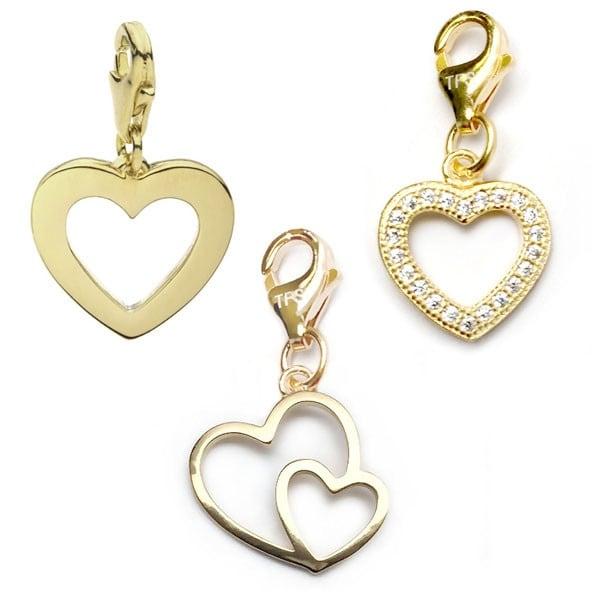 Julieta Jewelry Double Heart, Heart, CZ Heart 14k Gold Over Sterling Silver Clip-On Charm Set