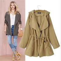 Long Hooded Windbreaker Coat Women Trench Coat
