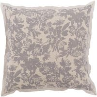Battleship Grey and Cool Gray Elegant Blossom Dreams Linen Decorative Euro Sham