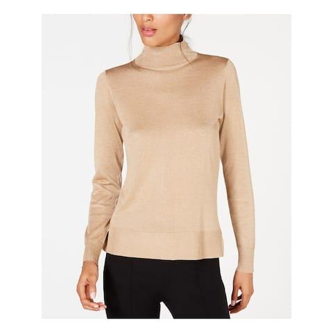 ANNE KLEIN Womens Gold Metallic Long Sleeve Turtle Neck Top Size XL