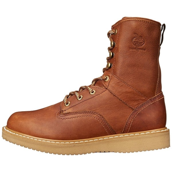 Georgia Boot Mens G8152 Leather Composite toe Lace Up Safety, Brown, Size 11.5