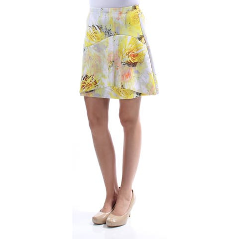 KIIND OF Womens Yellow Floral Above The Knee A-Line Skirt Size: XS