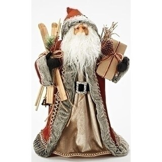 19 Stylish Red and Gray Santa Claus Holding Wooden Skis Tree Topper