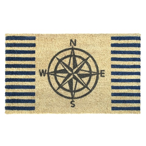 "RugSmith Gray Machine Tufted Welcome Compass Doormat, 18""x30"""