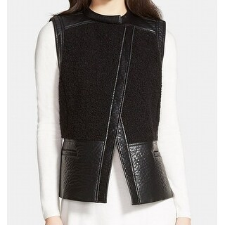 TROUVE Faux-Leather Shearling Women's Large Vest Jacket