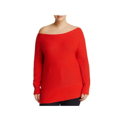 Lucky Brand Womens Plus Pullover Sweater Off-The-Shoulder Ribbed Trim