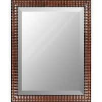 "46"" Walnut Brown Finished Wooden Framed Beveled Rectangular Wall Mirror"