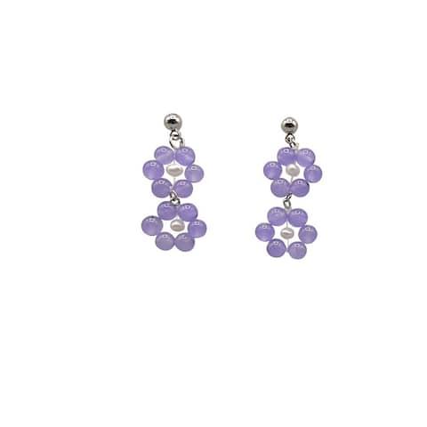 Lavender Jade Earrings on Silver Ball Studs - 2 Daisies