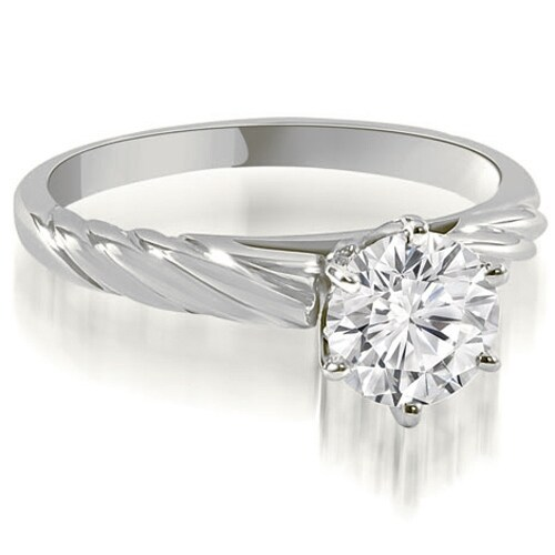 0.50 cttw. 14K White Gold Twist Style 6-Prong Solitaire Diamond Engagement Ring