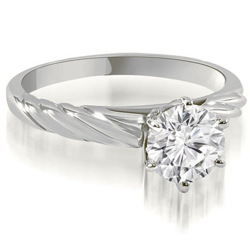 1.00 cttw. 14K White Gold Twist Style 6-Prong Solitaire Diamond Engagement Ring