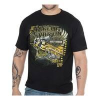 Harley-Davidson Men's Winged Flyer Short Sleeve Crew-Neck T-Shirt - Black