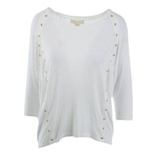 MICHAEL Michael Kors Womens Jersey Grommet Pullover Top - L