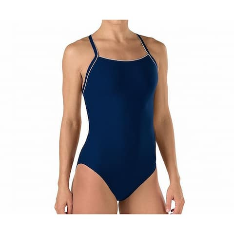 Speedo Navy Blue Women's Size 12 One-Piece Open-Back Solid Swimwear